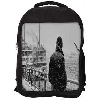 Snoogg Man Waiting Digitally Printed Laptop Backpack