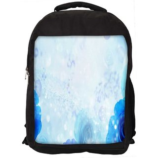 Snoogg Blue Roses Digitally Printed Laptop Backpack