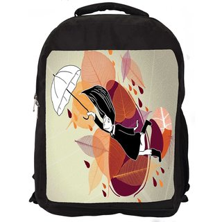 Snoogg Girl With White Umbrella Digitally Printed Laptop Backpack