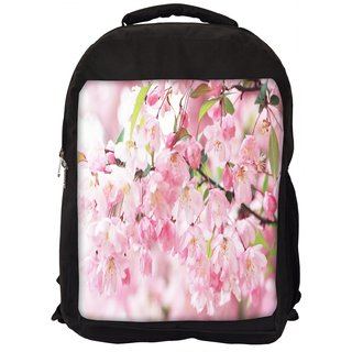Snoogg White Small Flower Digitally Printed Laptop Backpack