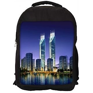 Snoogg Skyscrapers In The Bay 2696 Digitally Printed Laptop Backpack