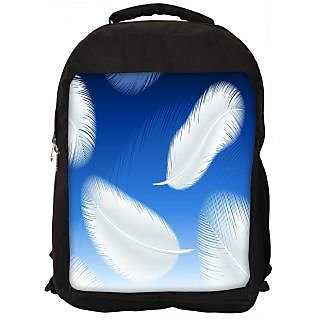 Snoogg Feathers Vector Digitally Printed Laptop Backpack