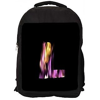 Snoogg Flaming 3D Letter Designer Laptop Backpacks
