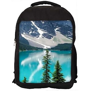 Snoogg Mountain And Lake Digitally Printed Laptop Backpack