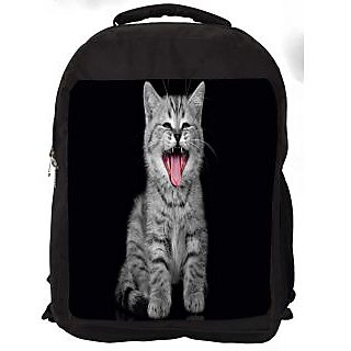 Snoogg Laughing Cat Digitally Printed Laptop Backpack