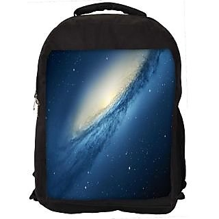 Snoogg Blue Galaxy Digitally Printed Laptop Backpack