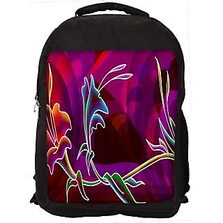 Snoogg Abstract Flower Digitally Printed Laptop Backpack