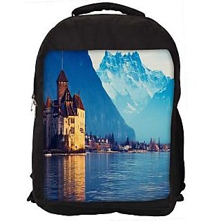 Snoogg Lake Geneva Digitally Printed Laptop Backpack
