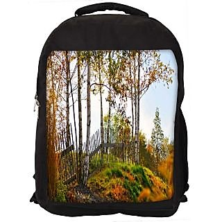Snoogg Sunshine Forest Digitally Printed Laptop Backpack