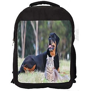 Snoogg Dag And Cat Digitally Printed Laptop Backpack