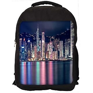 Snoogg Colorful Buildings Digitally Printed Laptop Backpack
