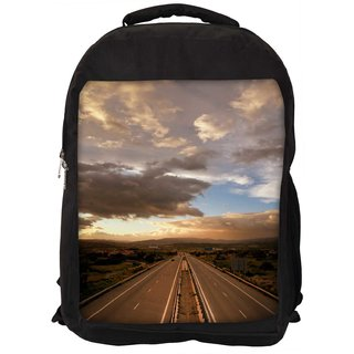 Snoogg Cloudy Sunset Over Highway Designer Laptop Backpacks