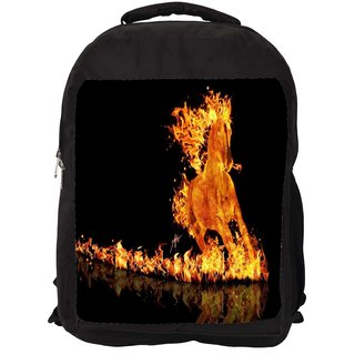 Snoogg Fire Horse Digitally Printed Laptop Backpack