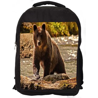 Snoogg Bear From The River Digitally Printed Laptop Backpack