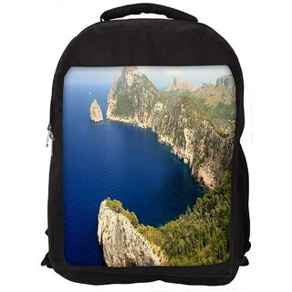 Snoogg Blue Water Mountain Digitally Printed Laptop Backpack
