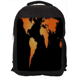 Snoogg Blue Map Digitally Printed Laptop Backpack