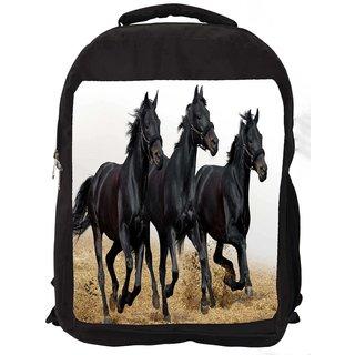 Snoogg Black Horses Running Digitally Printed Laptop Backpack