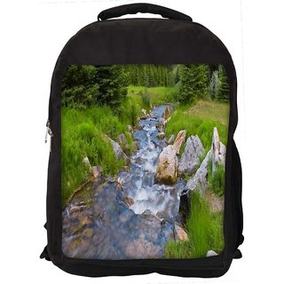 Snoogg Water Flowing Through The Garden Digitally Printed Laptop Backpack