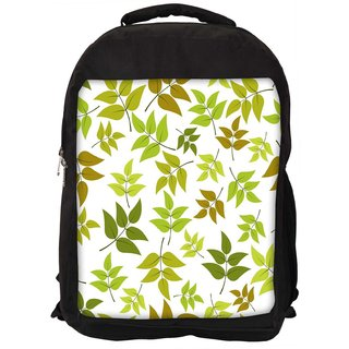 Snoogg Abstract Leaves White Pattern Digitally Printed Laptop Backpack