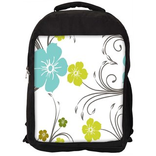 Snoogg Blue And Green Floral Pattern Digitally Printed Laptop Backpack