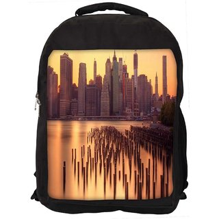 Snoogg New York Docks Digitally Printed Laptop Backpack