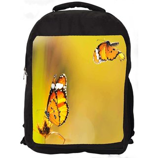 Snoogg Yellow Butterfly Digitally Printed Laptop Backpack