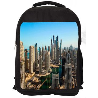 Snoogg Buildings In Dubai Digitally Printed Laptop Backpack