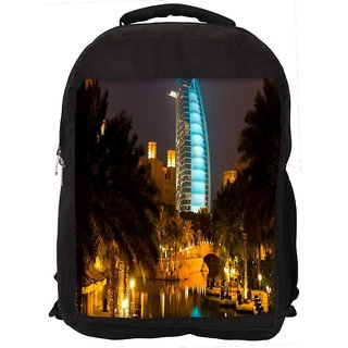 Snoogg Glowing Veiw At Dubai Digitally Printed Laptop Backpack