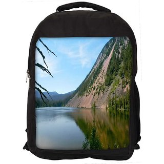 Snoogg River Side Mountain Digitally Printed Laptop Backpack