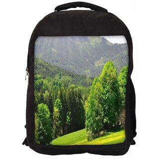 Snoogg Green Trees Digitally Printed Laptop Backpack