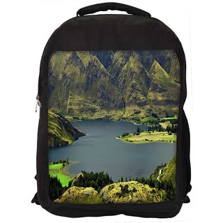 Snoogg Green Mountains Digitally Printed Laptop Backpack