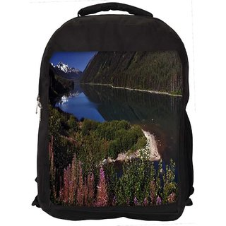 Snoogg Pink Flowers Digitally Printed Laptop Backpack