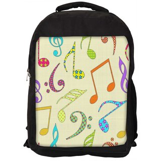 Snoogg Colorful Music Alphabets Digitally Printed Laptop Backpack
