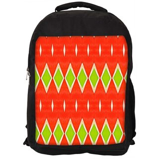 Snoogg Green Diamond Orange Pattern Digitally Printed Laptop Backpack