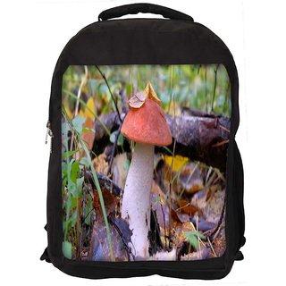 Snoogg Red Mushroom Digitally Printed Laptop Backpack