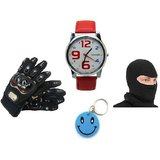 Combo Of Pro Biker Gloves+Morelife Watch Red+Face Mask Free Smiley Key Chain
