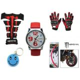 Combo Of Monster TankPad Pro Biker Gloves Decal Tape Watch Free Smiley Key Chain