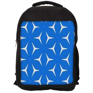Snoogg White In Blue Pattern Digitally Printed Laptop Backpack