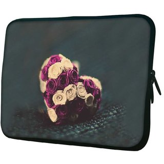 Snoogg Flower Hearts Designer Protective 10.2 Inch Soft Laptop Sleeve
