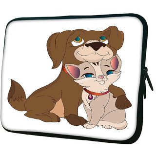 Snoogg Cat And Dog Love 10.2 Inch Soft Laptop Sleeve