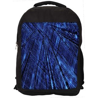 Snoogg Blue Grid Abstract Digitally Printed Laptop Backpack