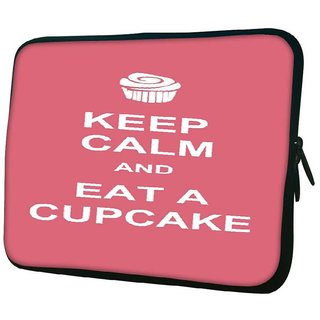 Snoogg Keep Calm And Eat A Cupcake 10.2 Inch Soft Laptop Sleeve