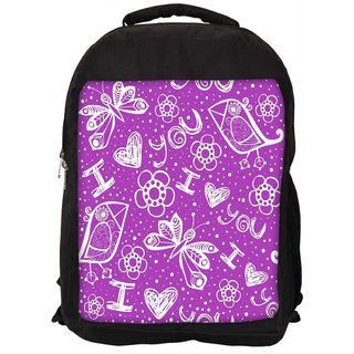 Snoogg I Love You Purple Pattern Digitally Printed Laptop Backpack