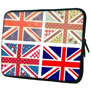 Snoogg 4 Cute British Flags In Shabby Chic Floral And Vintage Style Designer Protective Back Case Cov10.2 Inch Soft Laptop Sleeve