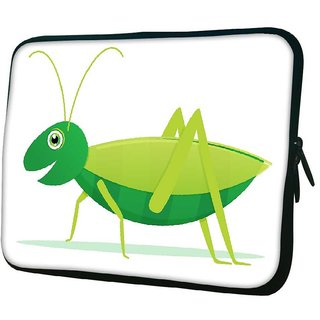 Snoogg Cute Cartoon Vector Grasshopper Designer Protective 10.2 Inch Soft Laptop Sleeve