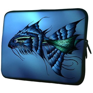 Snoogg Dark Blue Fish 10.2 Inch Soft Laptop Sleeve