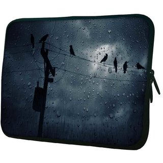 Snoogg Crows In The Rain 10.2 Inch Soft Laptop Sleeve