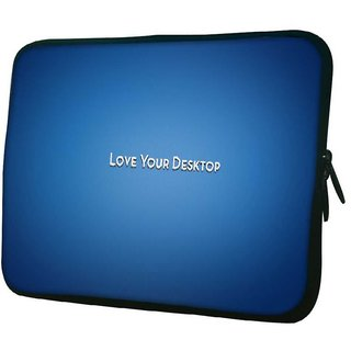 Snoogg Love Your Desktop Blue 10.2 Inch Soft Laptop Sleeve