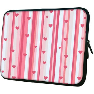 Snoogg Small Hearts Strips Pattern 1010.2 Inch Soft Laptop Sleeve