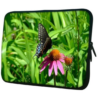 Snoogg Black Butterfly In Pink Flower 10.2 Inch Soft Laptop Sleeve
